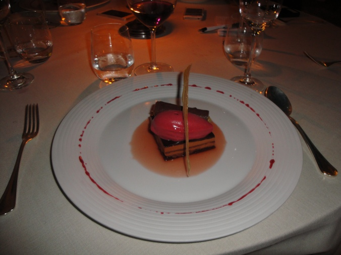 Raspberry chocolate dessert. Heavenly.