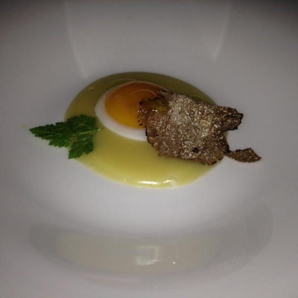Quail egg and truffle.