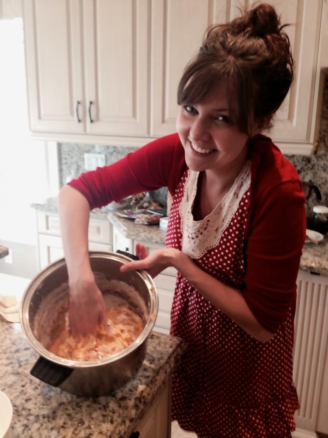 Adding flour.