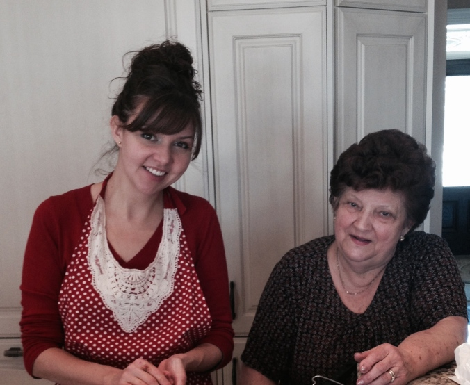 My Nonna and I, hard at work. No, I'm not wearing heels. No, she's not crouching.